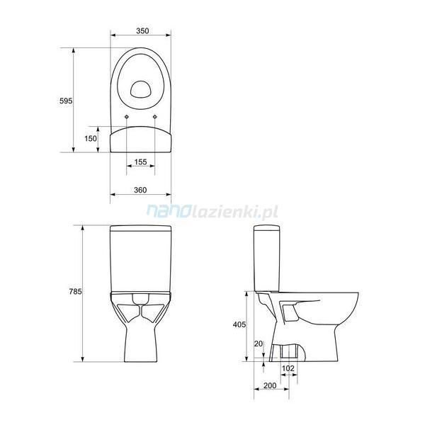 Cersanit Parva K27 003 Kompakt Wc 78 Cm Pionowy Deska Sedesowa